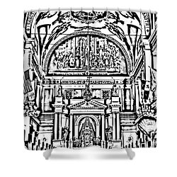 Inside St Louis Cathedral Jackson Square French Quarter New Orleans Photocopy Digital Art Shower Curtain by Shawn O'Brien