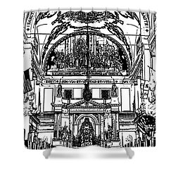 Inside St Louis Cathedral Jackson Square French Quarter New Orleans Stamp Digital Art Shower Curtain by Shawn O'Brien