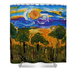 Intense Sky And Landscape Shower Curtain