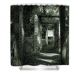 Shower Curtain featuring the photograph Into The Butterfly Garden Green by DigiArt Diaries by Vicky B Fuller