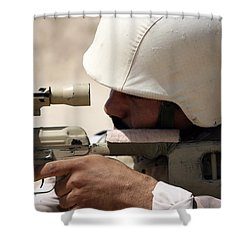 Iraqi Army Sergeant Sights Shower Curtain by Stocktrek Images