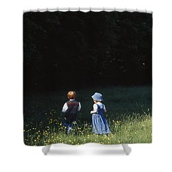 Ireland Children In A Field Shower Curtain by The Irish Image Collection