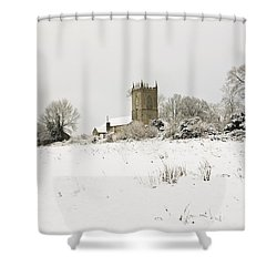 Ireland Winter Landscape With Church Shower Curtain by Peter McCabe