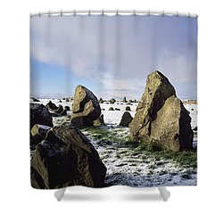 Irish Snow Scenes Co Tyrone, Beaghmore Shower Curtain by The Irish Image Collection