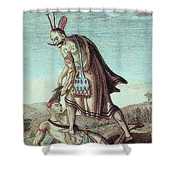 Iroquois Warrior Scalping Enemy, 1814 Shower Curtain by Photo Researchers