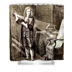 Isaac Newton Ray Of Light Shower Curtain by Science Source