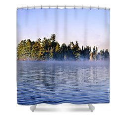 Island In Lake With Morning Fog Shower Curtain by Elena Elisseeva