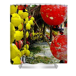 Island Of Buoys Shower Curtain by Karen Wiles