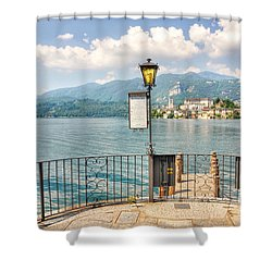 Island San Giulio On Lake Orta Shower Curtain