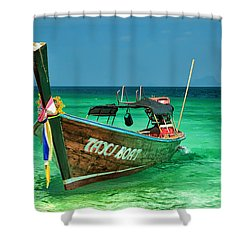 Island Taxi  Shower Curtain by Adrian Evans