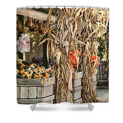 Isoms Orchard In Fall Regalia Shower Curtain by Kathy Clark