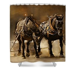 It Takes Two Shower Curtain by Davandra Cribbie