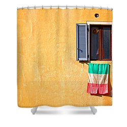 Italian Flag Window And Yellow Wall Shower Curtain by Silvia Ganora