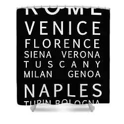 Italy Cities - Bus Roll Style Shower Curtain by Georgia Fowler