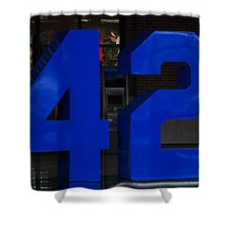 Jackie Robinson 42 Shower Curtain by Rob Hans