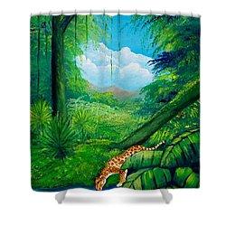 Jaguar Drinking Water Shower Curtain