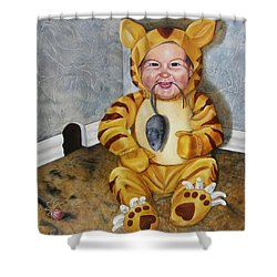 Shower Curtain featuring the painting James-a-cat by Lori Brackett