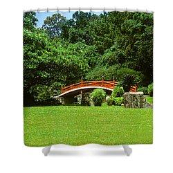 Japanese Garden Bridge 21m Shower Curtain by Gerry Gantt