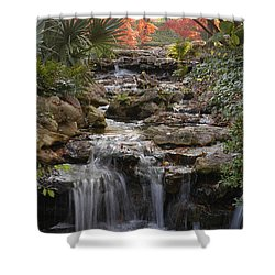 Waterfall In The Japanese Gardens, Ft. Worth, Texas Shower Curtain