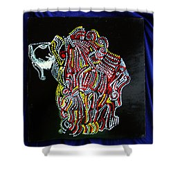 Shower Curtain featuring the painting Japanese Opera - Noh by Gloria Ssali