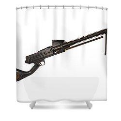 Japanese Type 11 Light Machine Gun Shower Curtain by Andrew Chittock