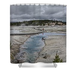 Japanese Woman With Umbrella At Norris Geyser Basin Shower Curtain by Daniel Hagerman