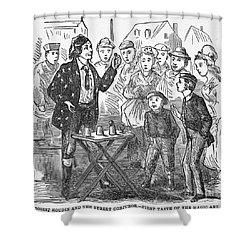 Jean Eugene Robert Houdin (1805-1871). French Magician. Wood Engraving, C1880, From An American Edition Of Houdins Autobiography, Depicting His First Childhood Encounter With A Street Magician Shower Curtain by Granger