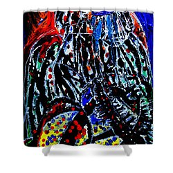 Shower Curtain featuring the painting Jesus Meets Mary On Calvary by Gloria Ssali