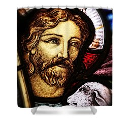 Jesus The Good Shepard Shower Curtain by Verena Matthew