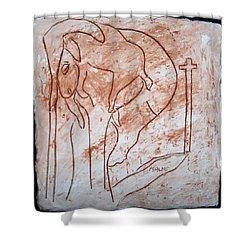 Jesus The Good Shepherd - Tile Shower Curtain by Gloria Ssali
