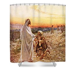 Jesus Withe The One Leper Who Returned To Give Thanks Shower Curtain by William Brassey Hole