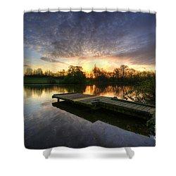 Jetty Sunrise 2.0 Shower Curtain by Yhun Suarez