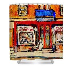 Jewish Montreal Vintage City Scenes De Bullion Street Cobbler Shower Curtain by Carole Spandau