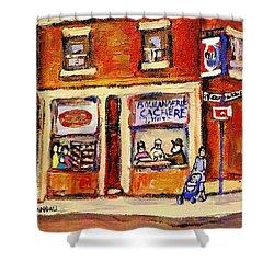 Jewish Montreal Vintage City Scenes Hutchison Street Butcher Shop  Shower Curtain by Carole Spandau