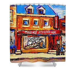 Jewish Montreal Vintage City Scenes Moishes St. Lawrence Street Shower Curtain by Carole Spandau
