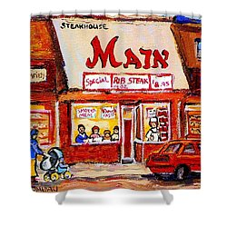 Jewish Montreal Vintage City Scenes The Main Rib Steaks On St. Lawrence Boulevard Shower Curtain by Carole Spandau