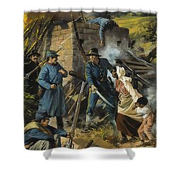 John Brown On 30 August 1856 Intercepting A Body Of Pro-slavery Men Shower Curtain by Andrew Howart