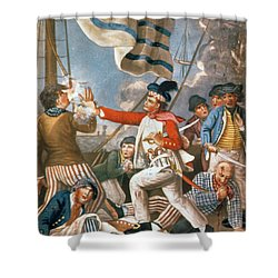 John Paul Jones Shooting A Sailor Who Had Attempted To Strike His Colours In An Engagement Shower Curtain by John Collet