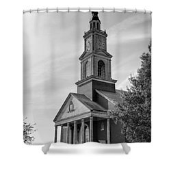 John Wesley Raley Chapel Black And White Shower Curtain by Ricky Barnard