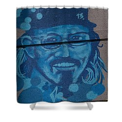Shower Curtain featuring the digital art Johnny On The Wall by Carol Ailles