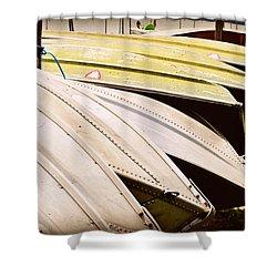 Jon Boats Shower Curtain by Paulette B Wright