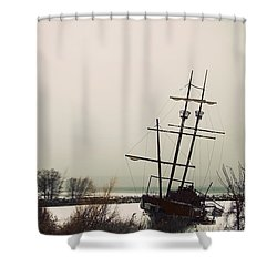 Jordan, Ontario, Canada A Tall Ship Shower Curtain by Pete Stec