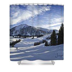 Joyeux Noel Austria Europe Shower Curtain by Sabine Jacobs