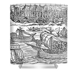 Julius Caesar Sailing The Thames 54 Bc Shower Curtain by Photo Researchers