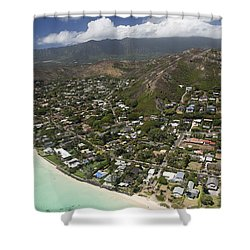 Kailua Aerial Shower Curtain by Peter French