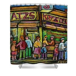 Katz's Houston Street Deli Shower Curtain by Carole Spandau