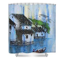 Kawa Wa Nagareru Yo Ni Shower Curtain by Roberto Prusso