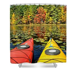 Shower Curtain featuring the photograph Kayaks In The Fall by Rick Frost