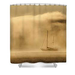 Ketch In Mist Shower Curtain by Avalon Fine Art Photography