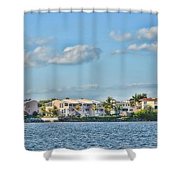 Key Largo Houses Shower Curtain by Chris Thaxter